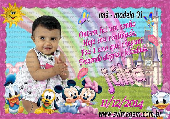 Imã De Geladeira Baby Disney Para Meninas Com Frase