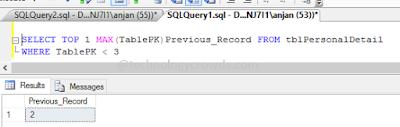 SQL Previous Record
