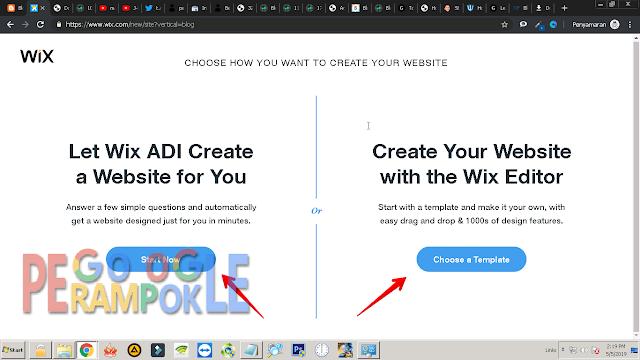pilih adi untuk buat secara otomatis atau pilih wix untuk manual