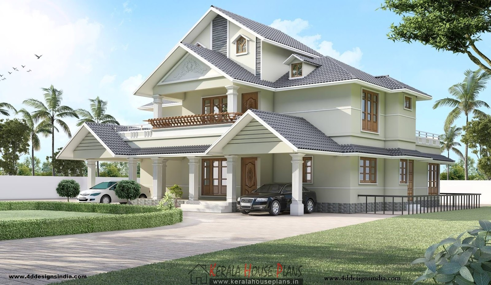 Double floor kerala house design with interior photos for Home design double floor