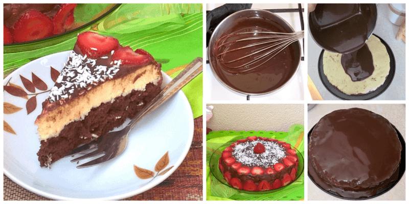 tort bounty zpolewą czekoladową itruskawkami