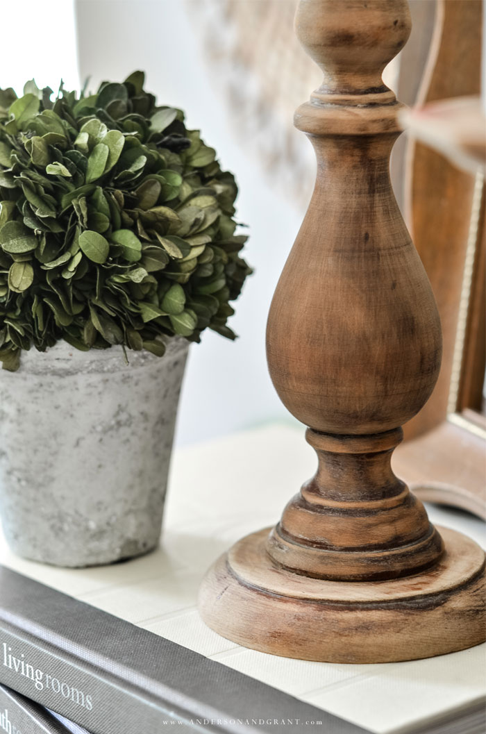 Chunky wood candleholders.....an easy DIY project using thrift store candlesticks  #fixerupper #DIY #DIYcandlestick #thriftstore  |  www.andersonandgrant.com