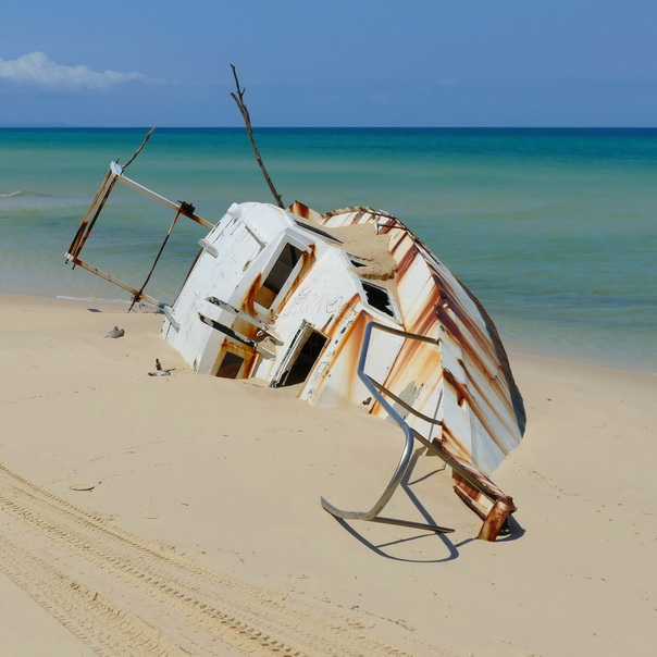 Schiff Jacht Wrack neu Moreton Island Strand Meer