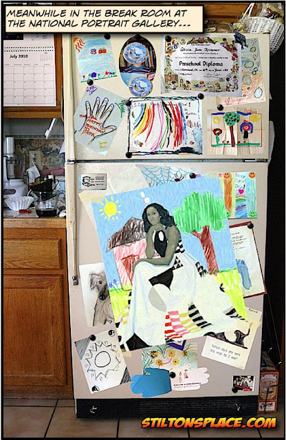 stilton's place, stilton, political, humor, conservative, cartoons, jokes, hope n' change, michelle obama, portrait, refrigerator