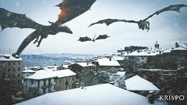 tres dragones volando en Hondarribia en invierno
