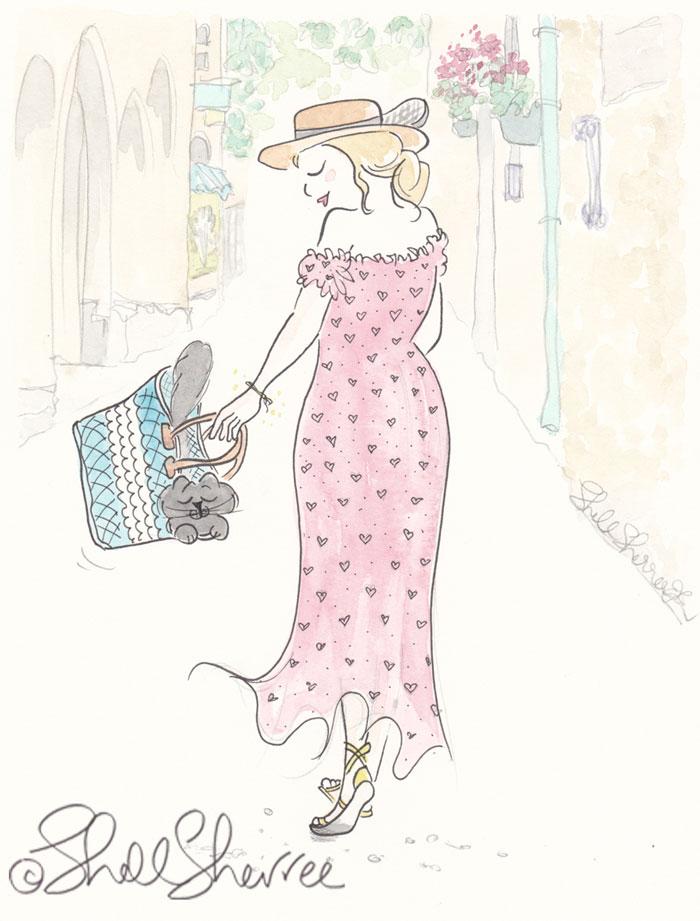 Travel Fashion and Fluffballs illustration: Heart Dress and Aqua Tote Kitty © Shell Sherree