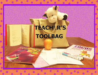 A textbook, worksheets, puppet, worksheets, songbooks, art supplies are items that good teachers may have in their toolbag or toolbox.