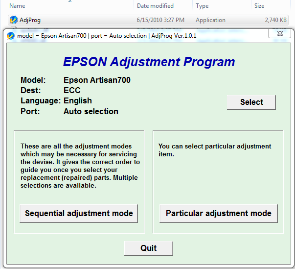 Epson Artisan 700 Resetter