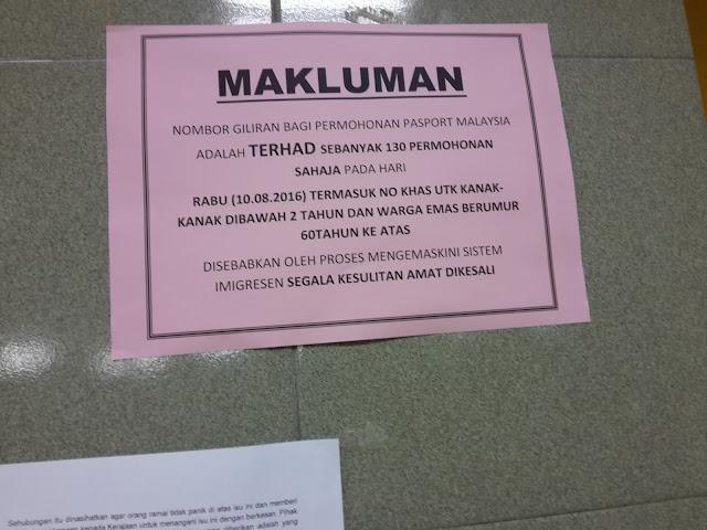 Passport Malaysia Limit 130 Sehari di Imigresen Kajang