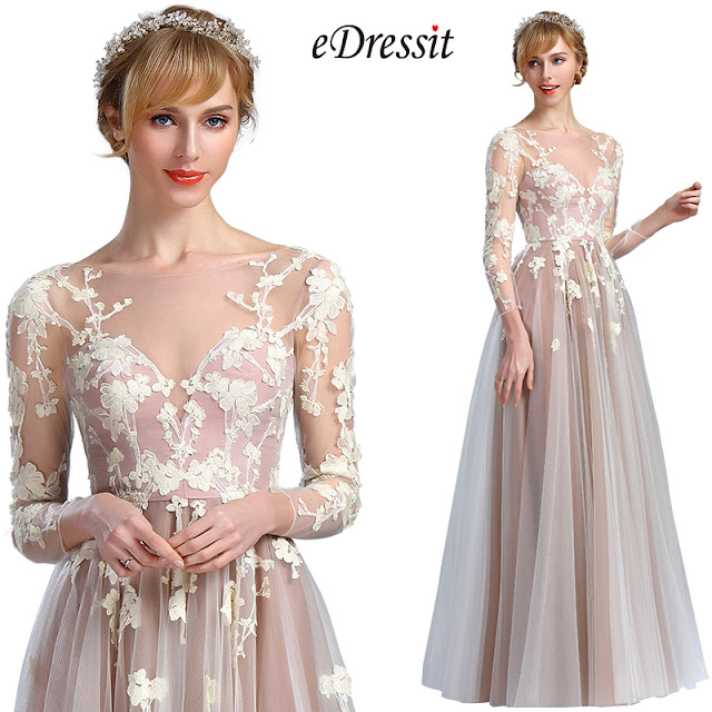 A-line long sleeves fancy prom dress