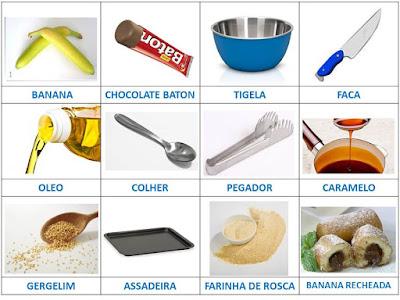 sinais de vocabulário de receitas de banana recheada em LIBRAS