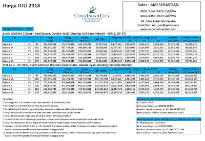 Harga SAKURA Citra Indah City Juli 2018