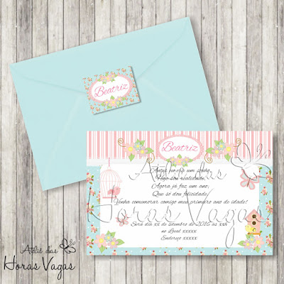 convite aniversário infantil personalizado jardim encantado floral delicado azul rosa vintage passarinho borboleta bebê 1 aninho menina festa envelope adesivo tag