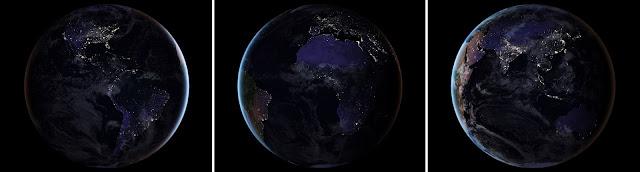 Imagens de satélite mostra o mundo durante á noite, com a iluminação das cidades