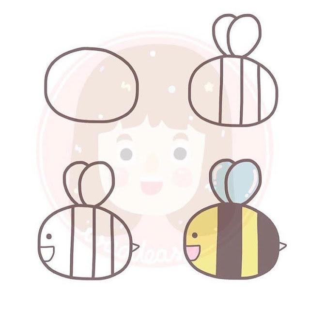 Cara menggambar lebah untuk anak-anak