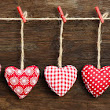 Heart Pillows on Clothesline