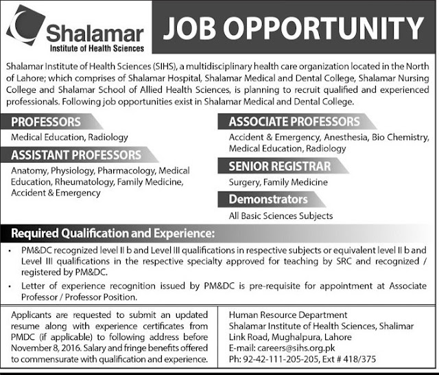 Doctors Jobs in Lahore Shalamar Institute Jobs