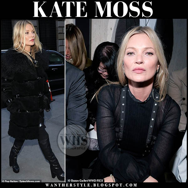 Kate Moss wears black fur longchamp coat and black platform knee boots front row fashion week outfits february 2019