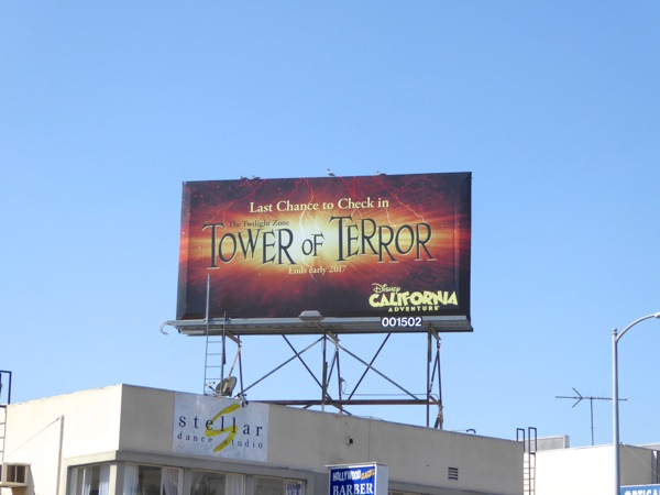 Last chance Tower of Terror Disney billboard