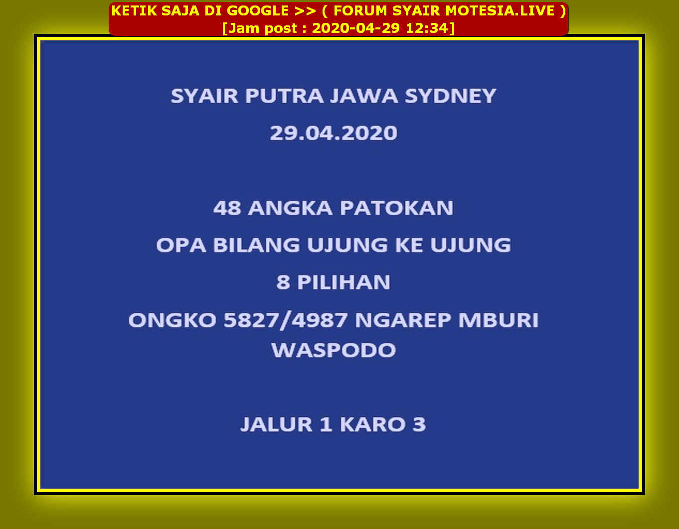 Kode syair Sydney Rabu 29 April 2020 13