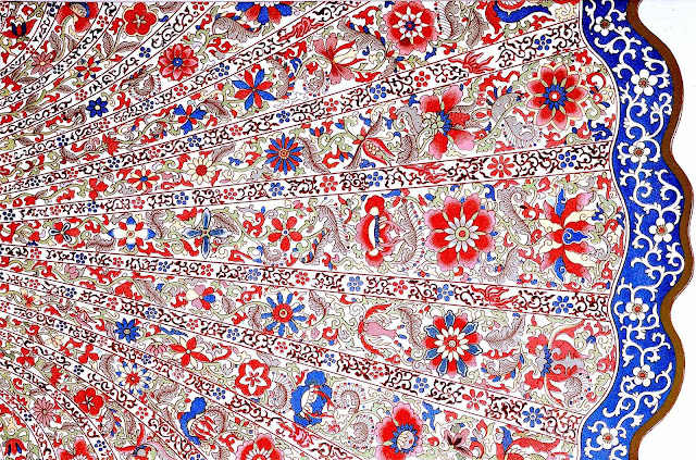 Owen Jones illustration of old Chinese ornament, red white blue