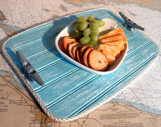 Nautical Tray with Rope and Boat Cleats