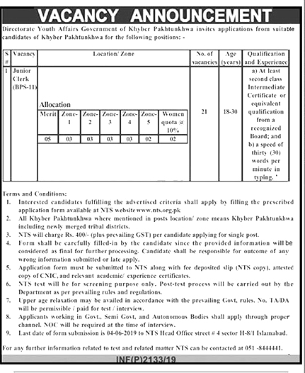 Directorate Of Youth Affairs KPK Jobs 2019 May NTS Application Form