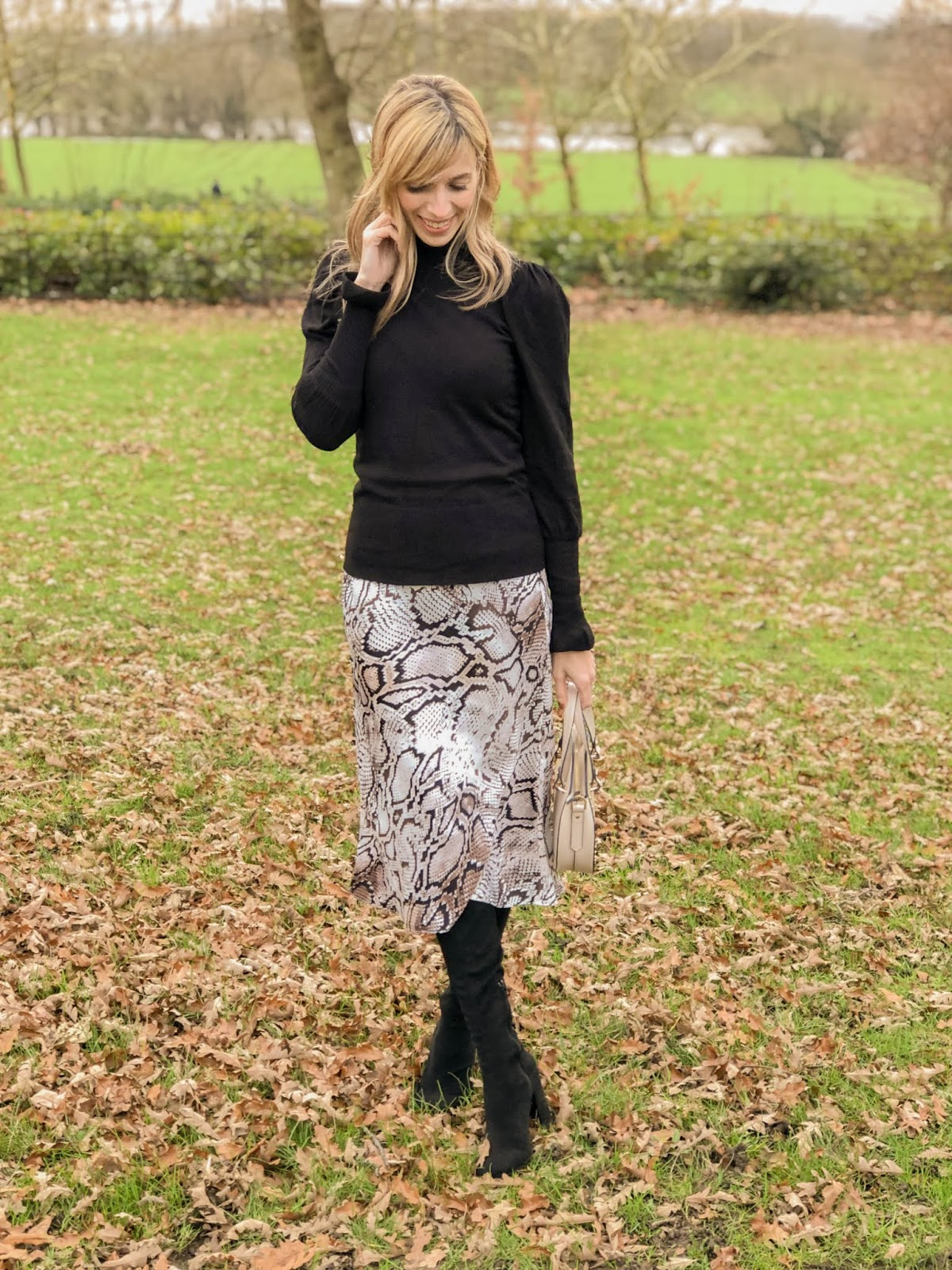 Satin Bias Cut Midi Skirt Outfit