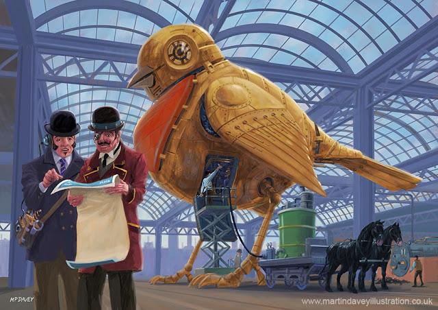 Martin Davey mechanical robin in fantast victorian industry