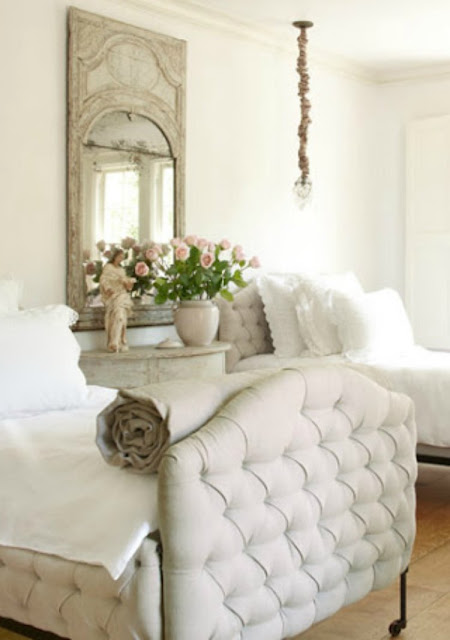 Beautiful French Country bedroom with tufted upholstered beds on Hello Lovely Studio