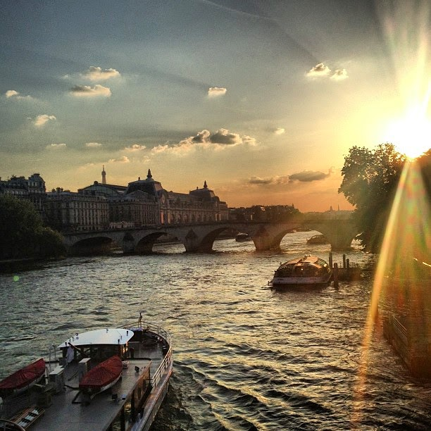Paris Seine sunset Pont
