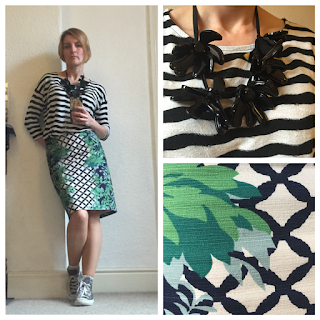 Boden print skirt, Sainsburys top, Marni necklace