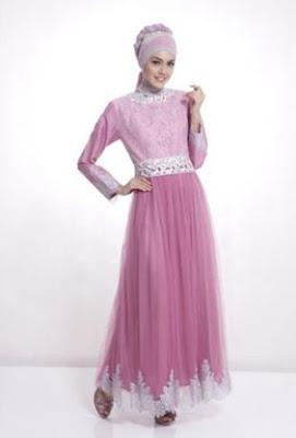 Contoh model dress brokat pendek untuk muslimah