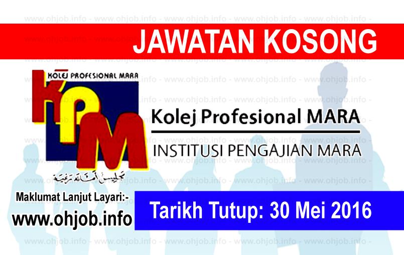 Jawatan Kerja Kosong Kolej Profesional MARA logo www.ohjob.info mei 2016