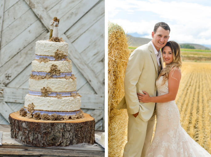 Rustic Wedding Cake / Montana Bride + Groom / Merry Character Photography