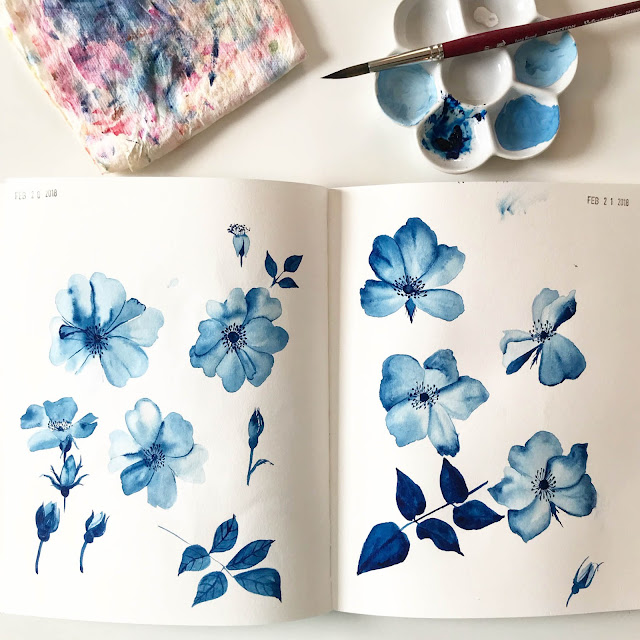 gouache, watercolor, painting, sketchbook, surface pattern design, design process, blue roses, Anne Butera, My Giant Strawberry