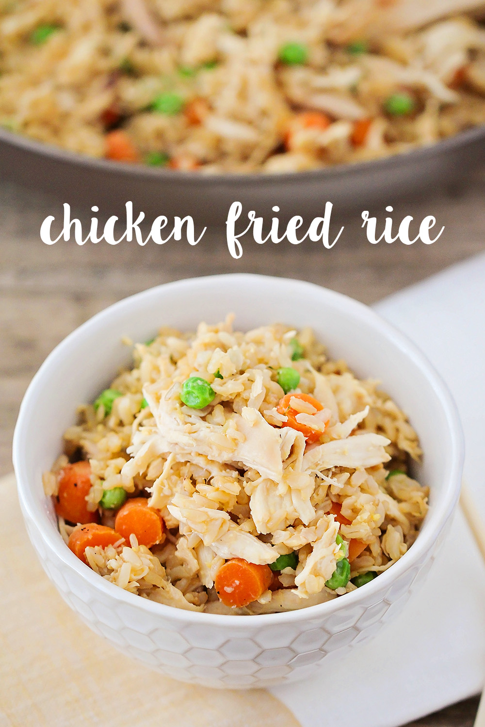 This tasty chicken fried rice is ready in  twenty minutes and better than take out!