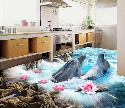 beautiful 3d bathroom floor painting ideas with fish playing within flowers