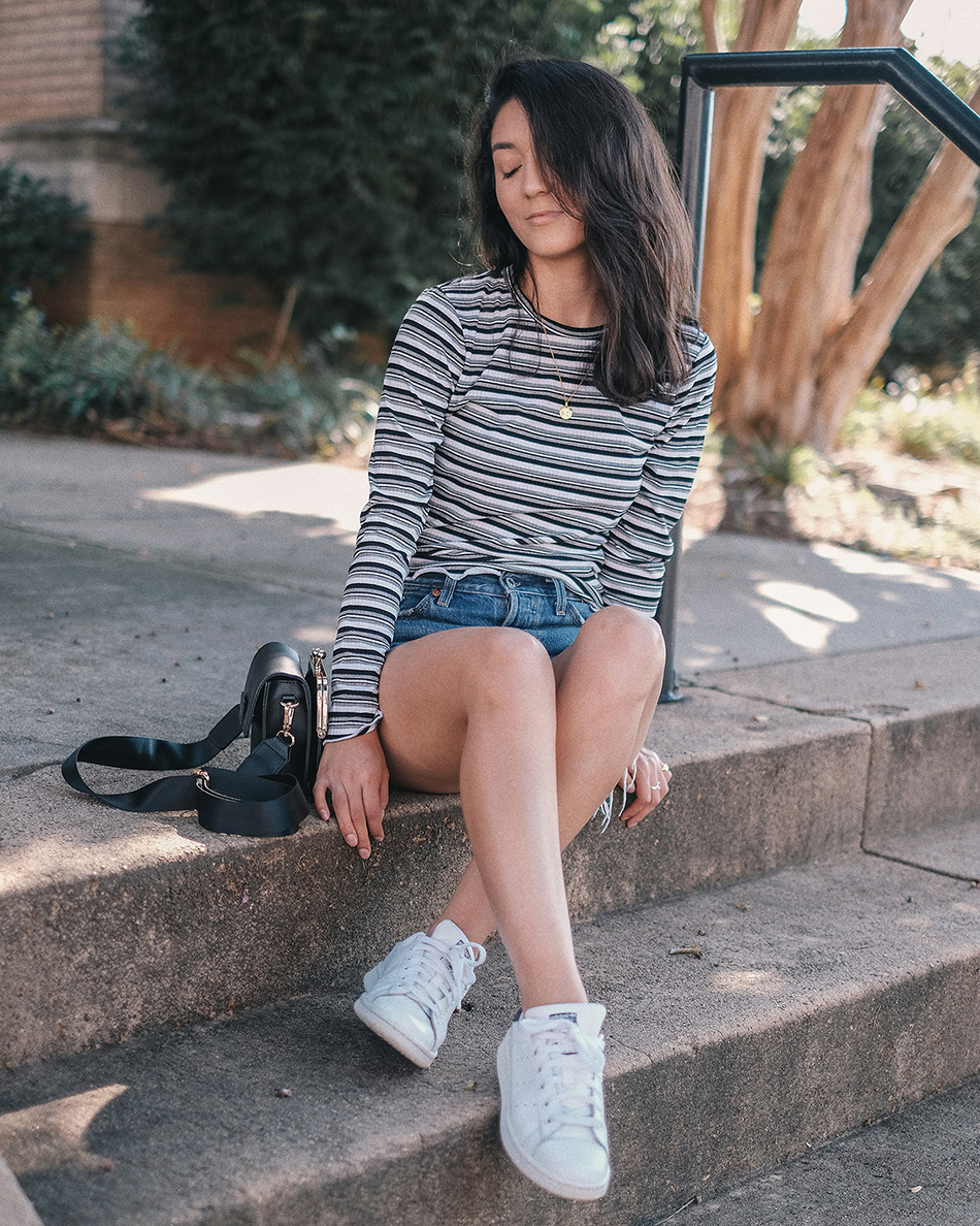 striped lettuce edge long sleeve top, melie bianco judy bag, stan smith sneakers outfits, mejuri zodiac necklace