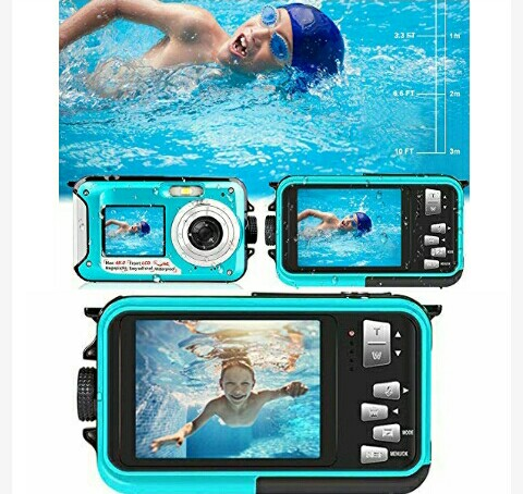 Yisence Waterproof Camera: Full HD 48MP Digital Cam - Underwater Sports Camcorder for Swimming up to 10Feet