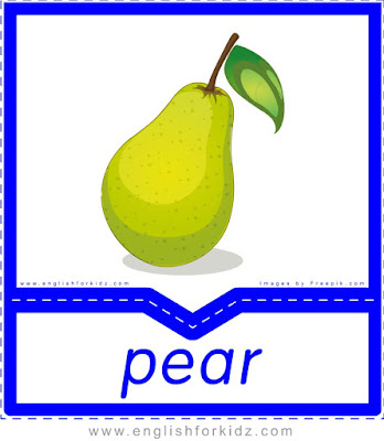 Pear - English flashcards for the fruits, vegetables and berries topic