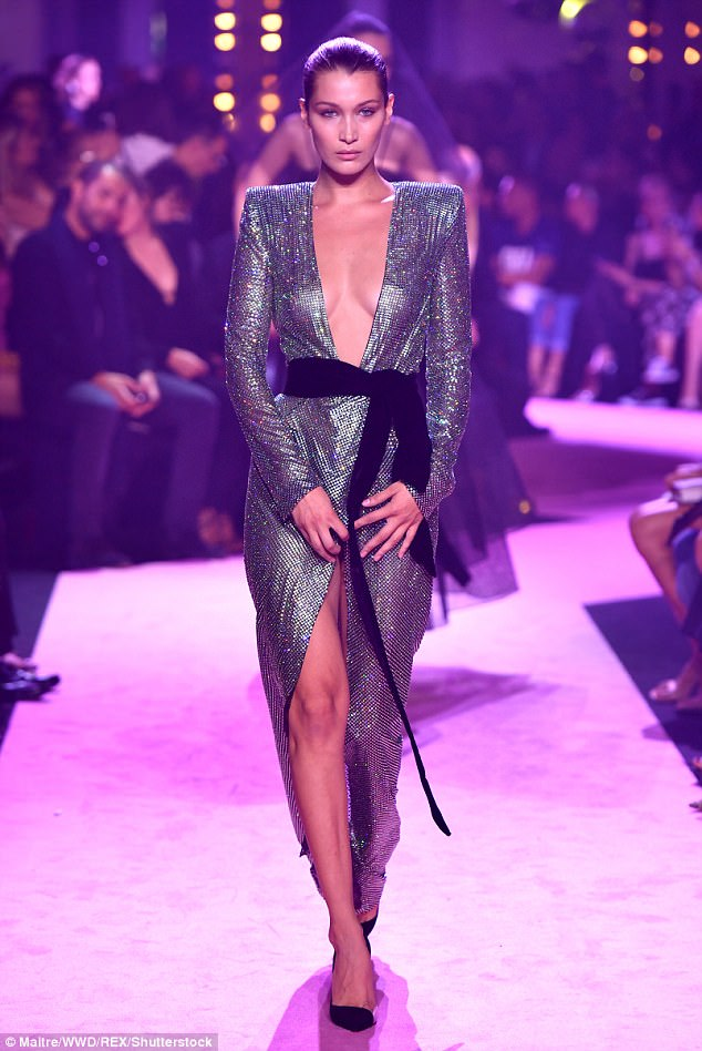 Bella Hadid goes braless for the Alexander Vauthier Paris Haute Couture Fashion Show