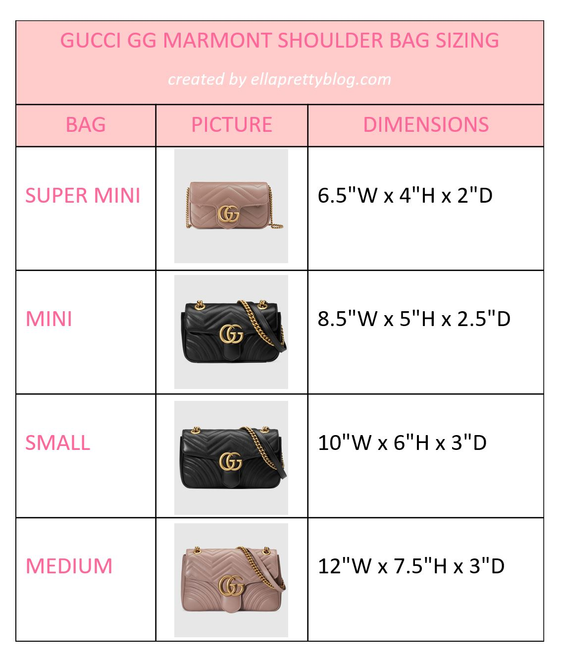 35d3afa1fda Comparing the Different Sizes of the Gucci GG Marmont Matelasse ...