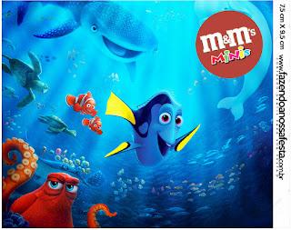 Etiqueta M&M de Buscando a Dory para imprimir gratis.
