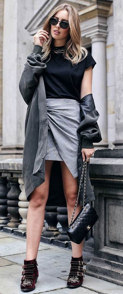 cool fall outfit : coat + top + skirt + bag + boots