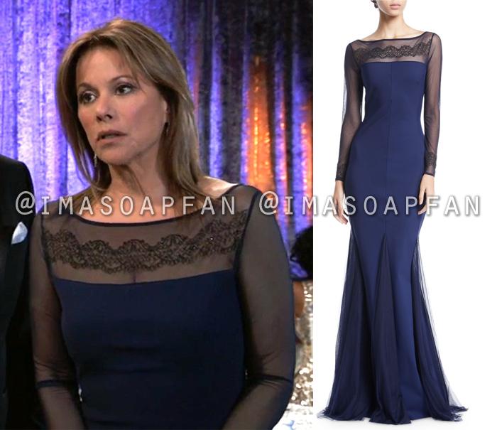 Alexis Davis, Nancy Lee Grahn, Embroidered Navy Blue Illusion Gown, Dress, Nurses Ball, General Hospital, GH