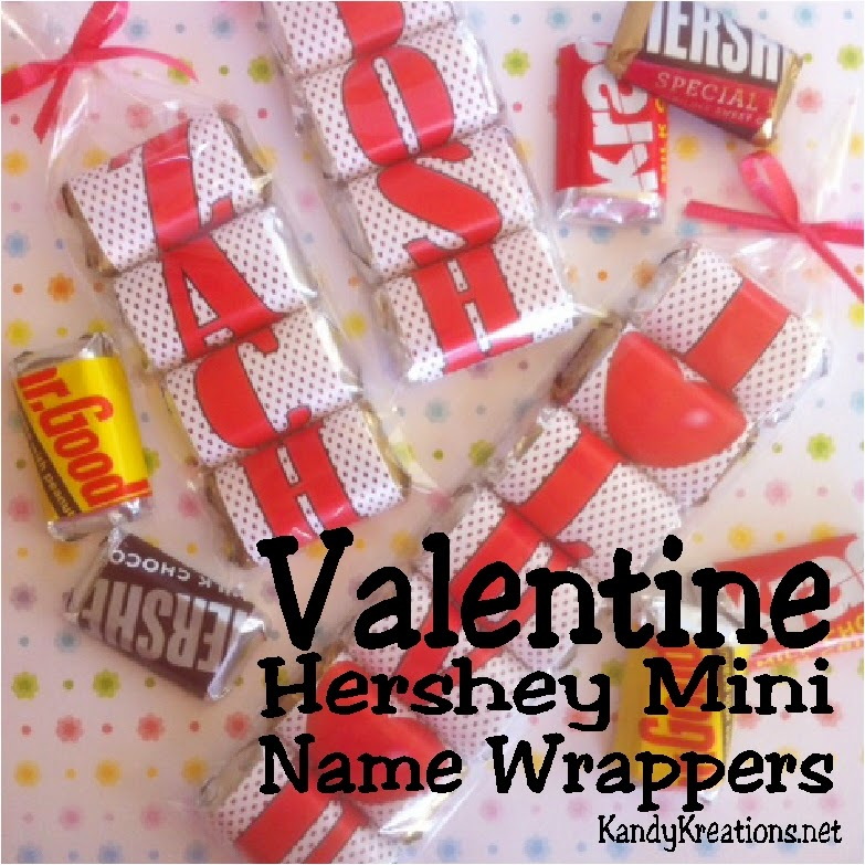 "Give your Valentine a unique and personalized Valentine treat with these Valentine Hershey mini candy bar wrappers.  Wrap a Hershey mini candy bar with all the right letters to spell your Valentine's name or a fun love message.  Great idea for class Valentines, office Valentines, or just a friendly ""thinking of you!"""
