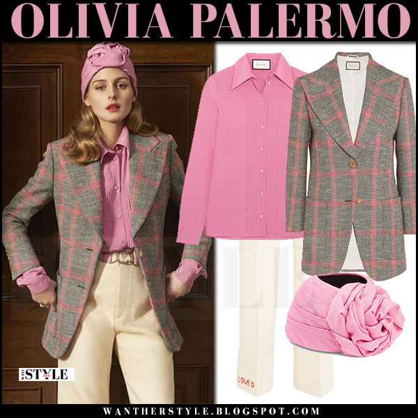 Olivia Palermo in grey plaid blazer, pink blouse with pink gucci turban what she wore april 2017 editorial