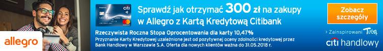 300 zł na Allegro za przetestowanie karty Citi Simplicity