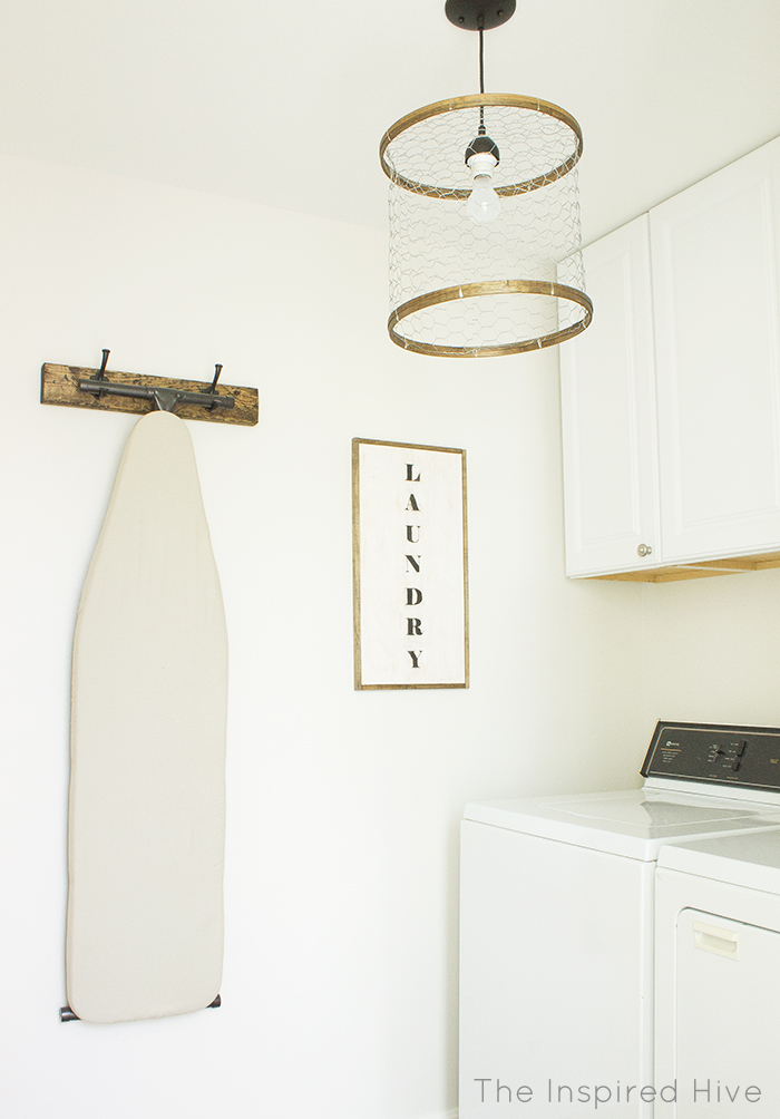 DIY rustic industrial light fixture for laundry room